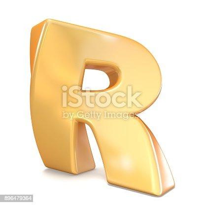 583978558istockphoto Orange twisted font uppercase letter R 3D 896479364