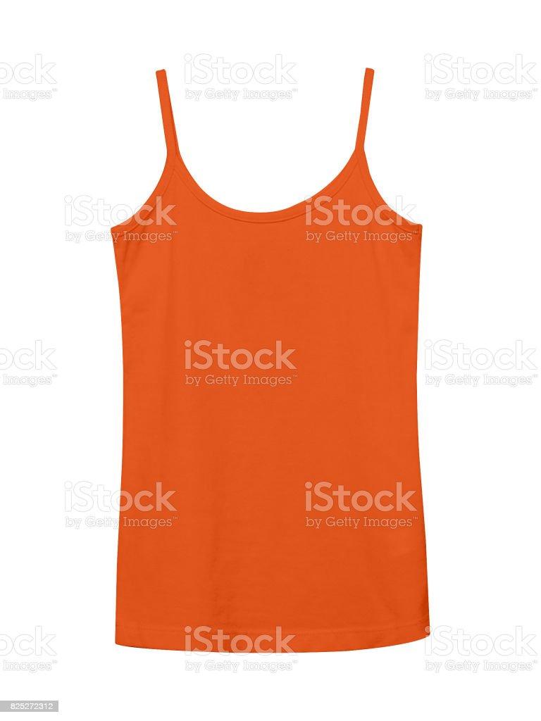 Orange underwear sleeveless empty summer t shirt camisole isolated on white stock photo