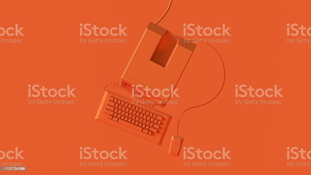 Orange Vintage Computer Keyboard and Mouse 3d illustration 3d render