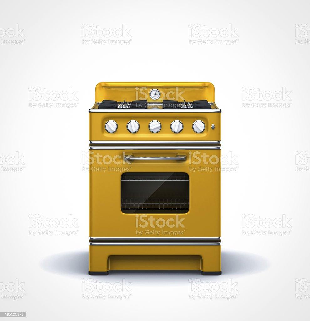 orange vintage retro stove in front view stock photo