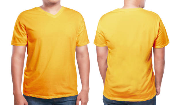 Orange V Neck Shirt Design Template Stock Photo