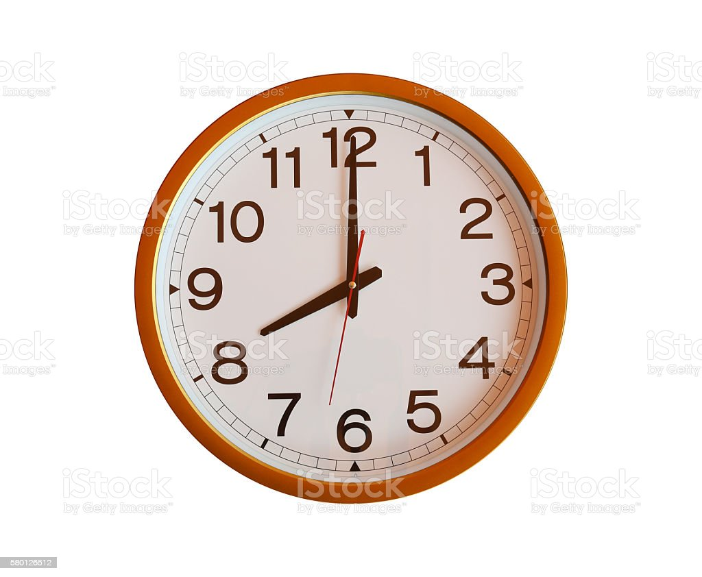 orange wall clock isolated in eight o'clock. stock photo