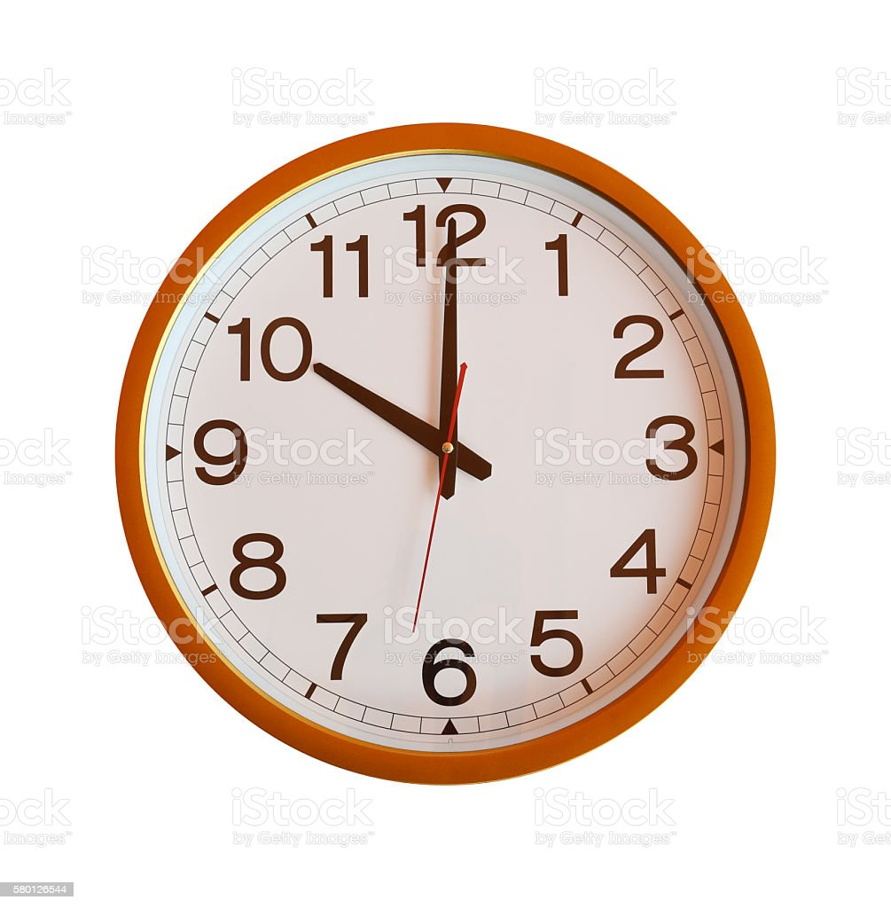 Orange Wall Clock Isolated In Ten Oclock On White