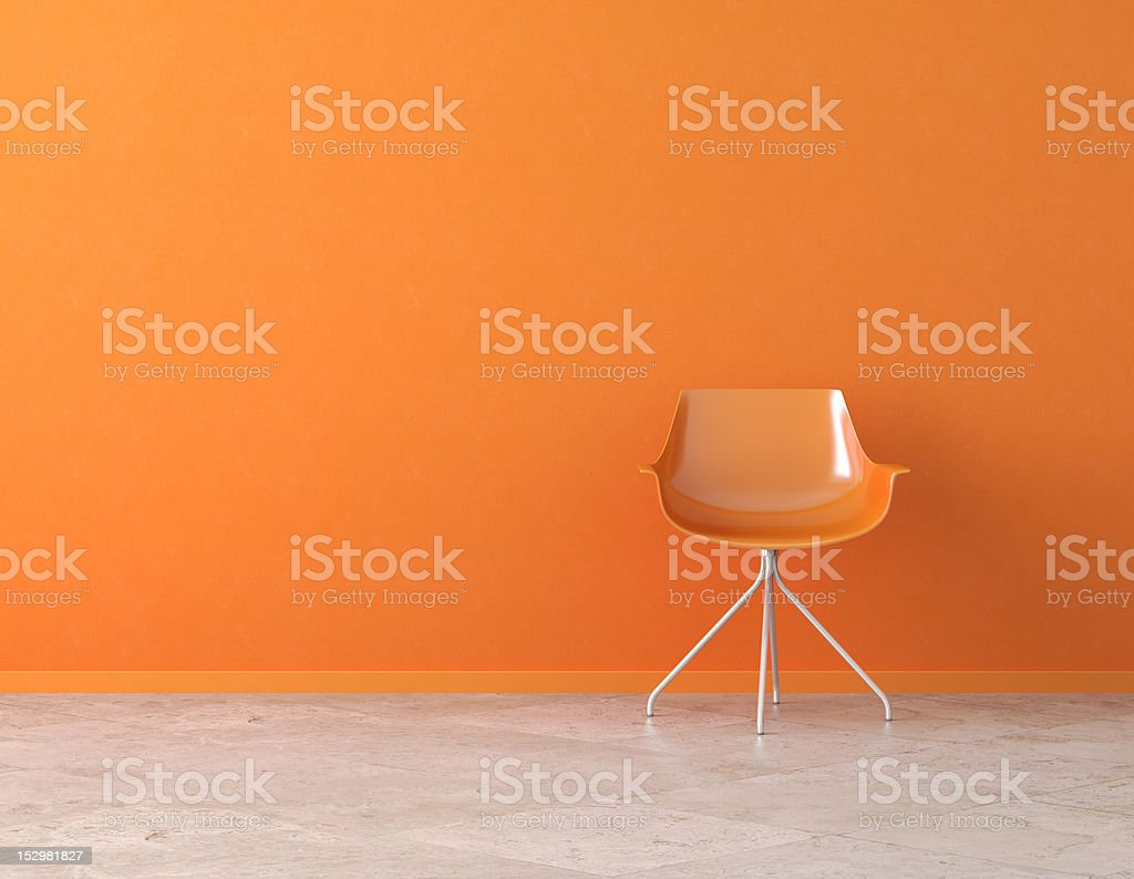orange wall interior with copy space stock photo
