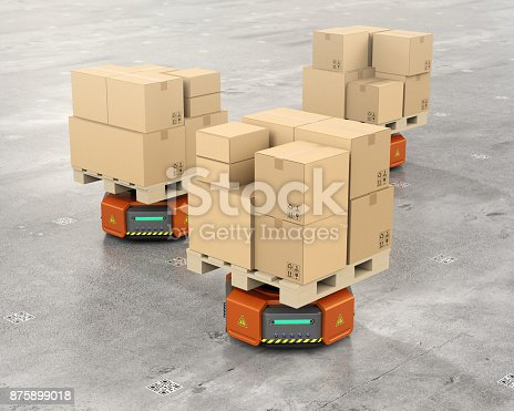 istock Orange warehouse robot carriers carrying cardboard boxes 875899018