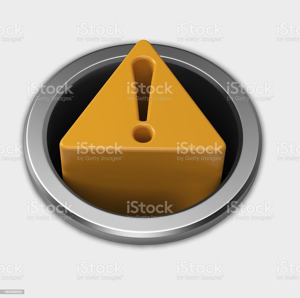 3 D amarelo sinal de alerta botão metálico em Fronteira - foto de acervo