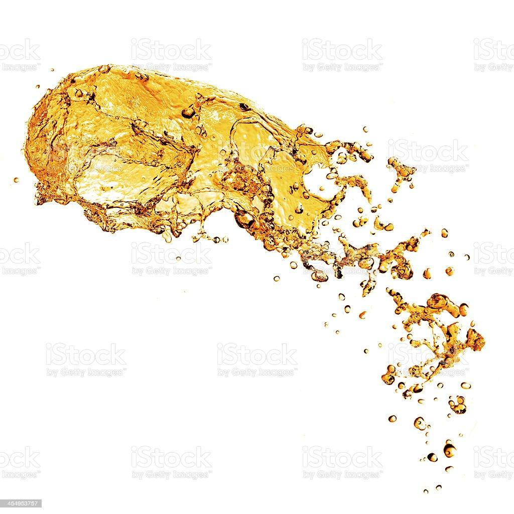 orange water splash isolated on white stock photo