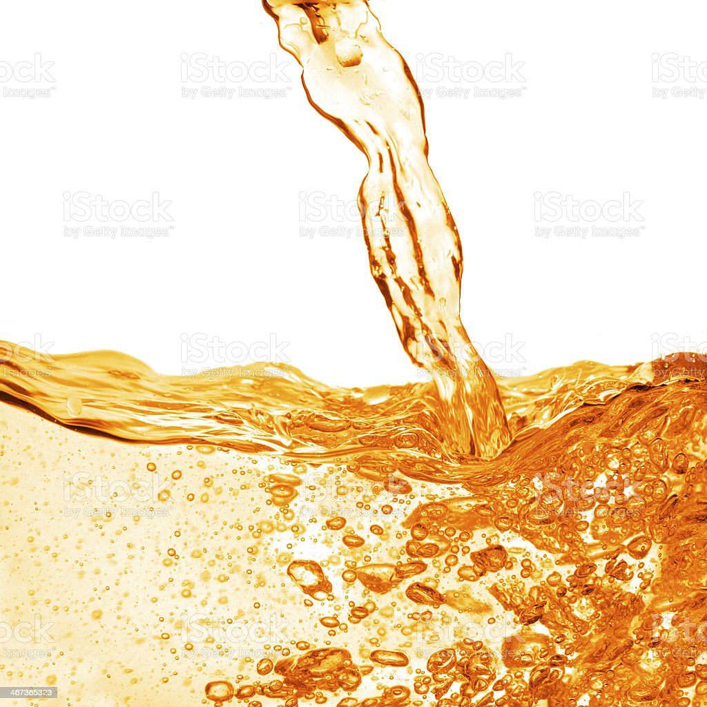 orange water splash isolated on white stock photo