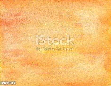 istock Orange watercolor background - abstract texture 986491786