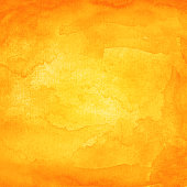 Abstract orange watercolor background with texture aquarelle paint and paper. Empty surface of square format with grunge effect for your text or collage.
