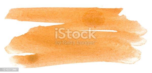Orange watercolor brush strokes isolated on white background