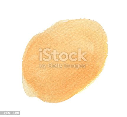 847999586 istock photo Orange watercolor circle isolated on white background, Hand paint texture 986510088