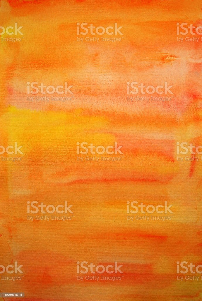 Orange watercolor hand painted art background for scrapbooking royalty-free stock photo