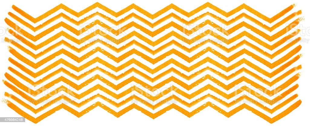 Orange watercolor zigzag pattern on white background stock photo
