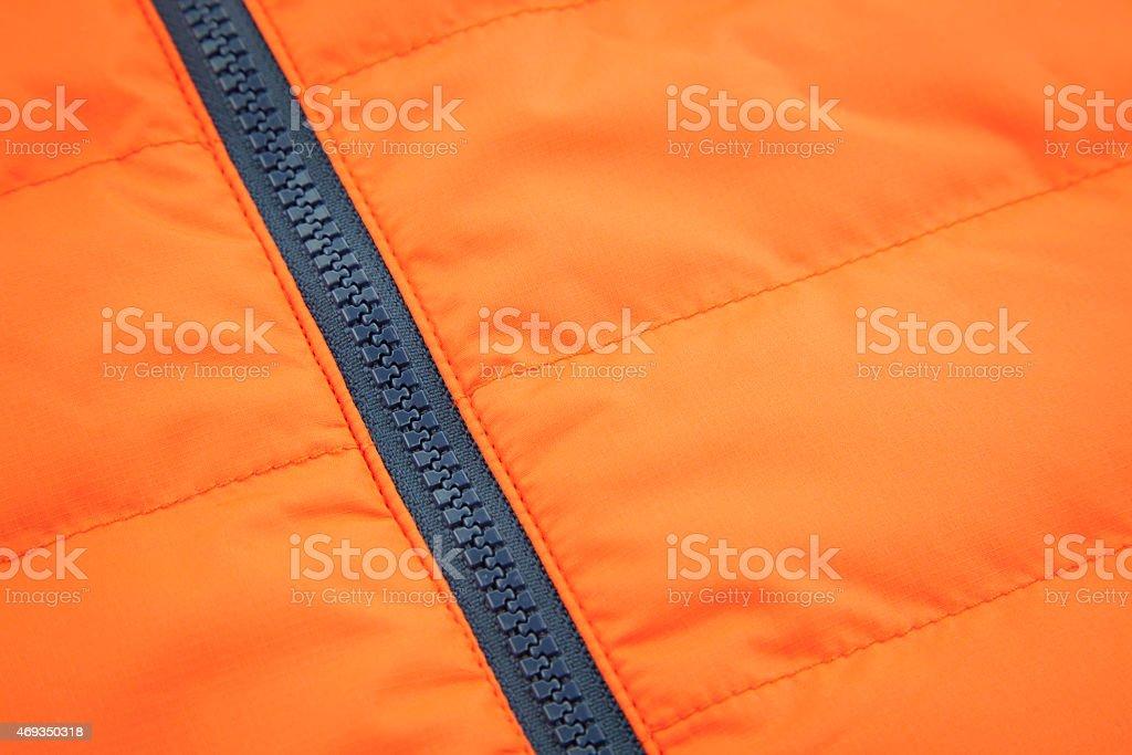 Orange waterproof textile with ziplock background stock photo