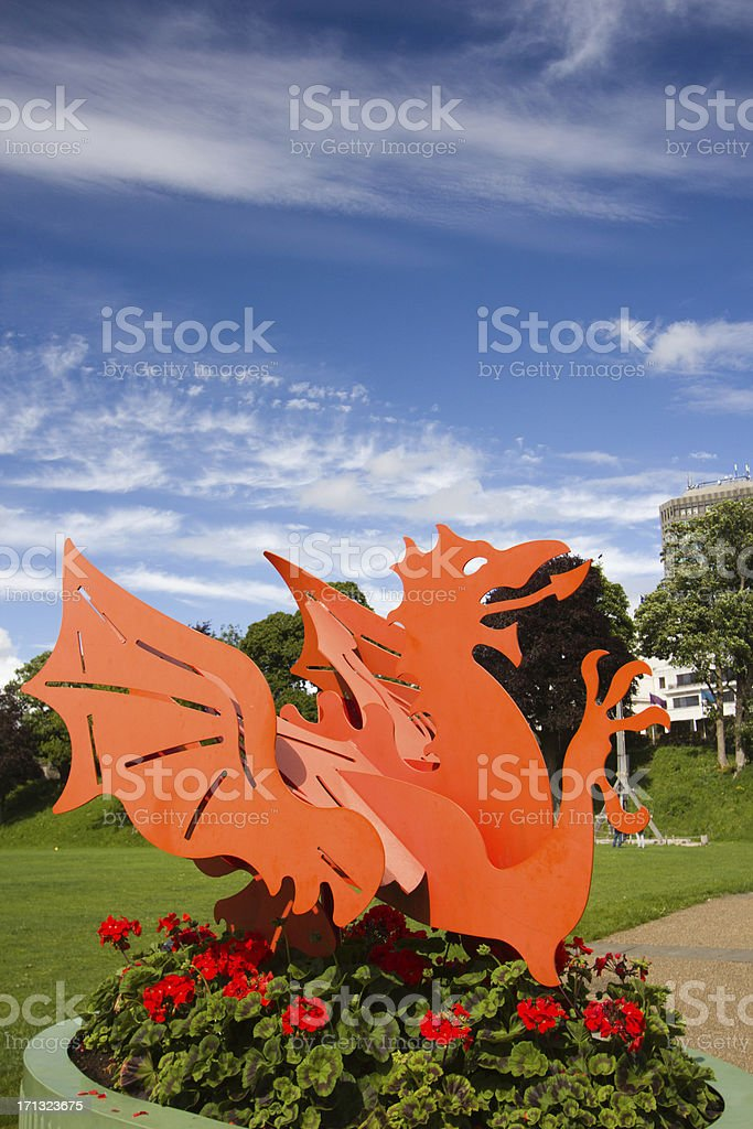 Orange Welsh dragon sculpture in Cardiff, Wales stock photo
