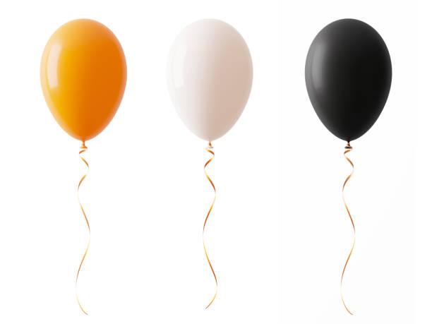 ballons orange halloween de couleur blanche et noirci isolées on white background - montgolfière photos et images de collection