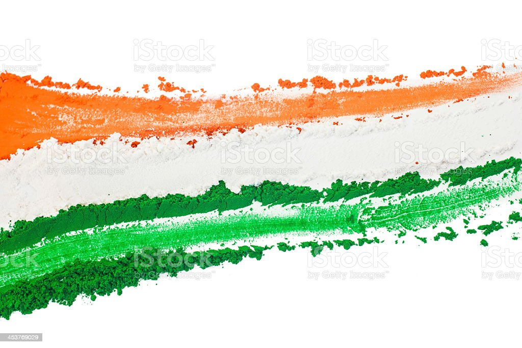 Orange, white and green Indian Tricolor powder in stripes stock photo
