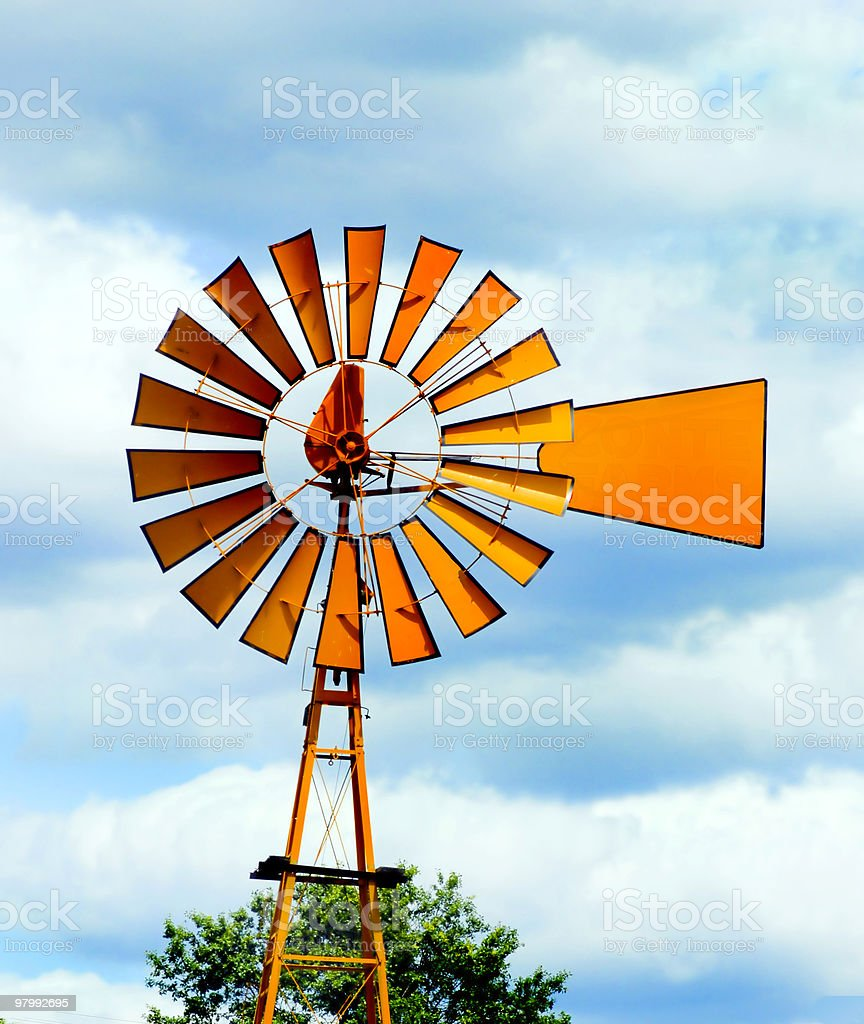 Orange windmill sign royalty free stockfoto
