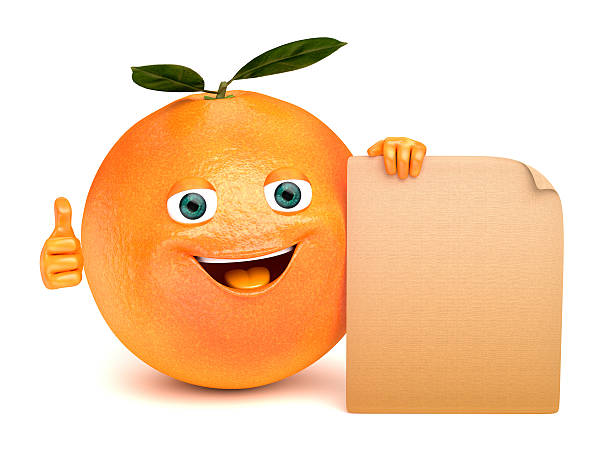 orange with a sign stock photo