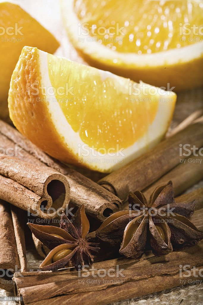 Orange with cinnamon and Star anise royalty-free stock photo