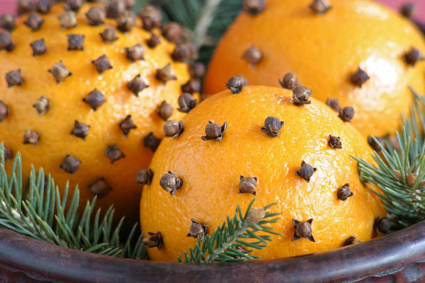 Orange with clove stock photo