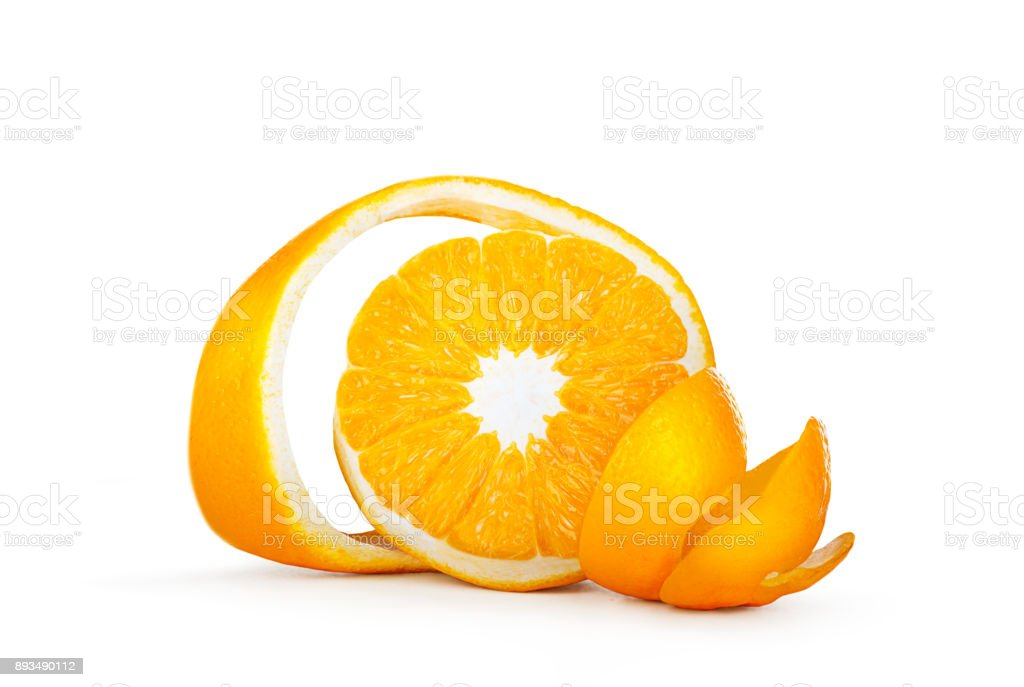 Orange with cut curled peel stock photo