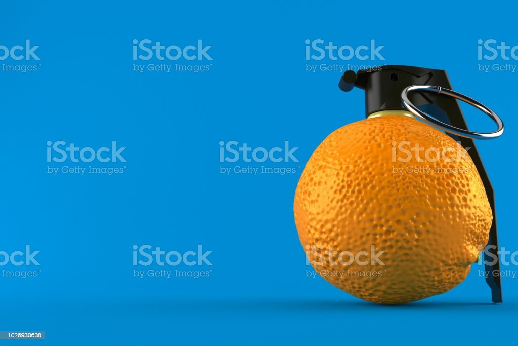 Orange With Hand Grenade Fuse Stock Photo - Download Image Now - iStock