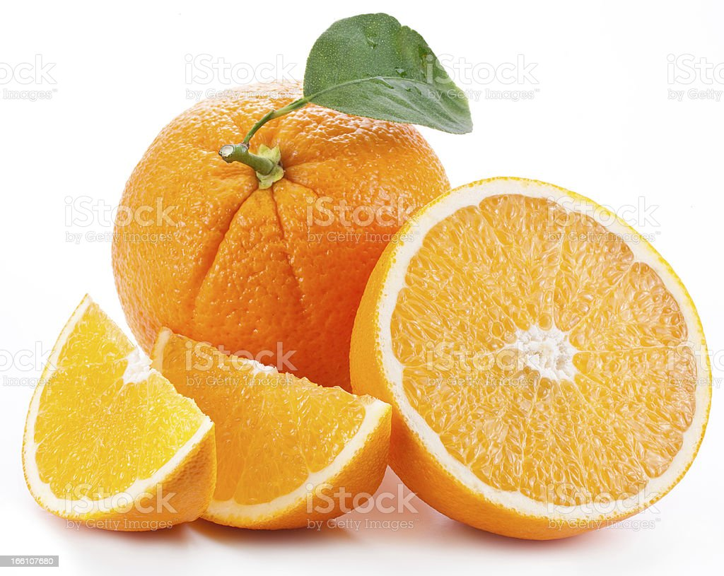 Orange with leaf on a white background. royalty-free stock photo