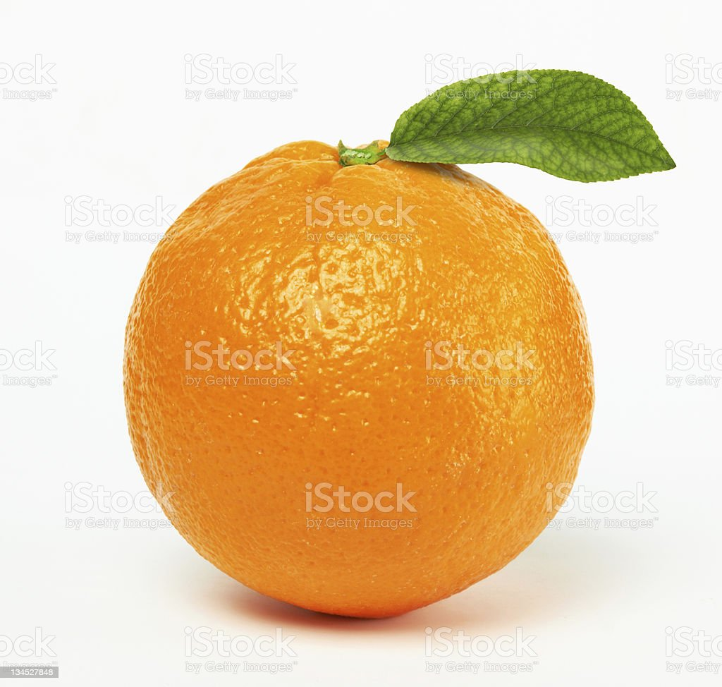 orange with leaf stock photo