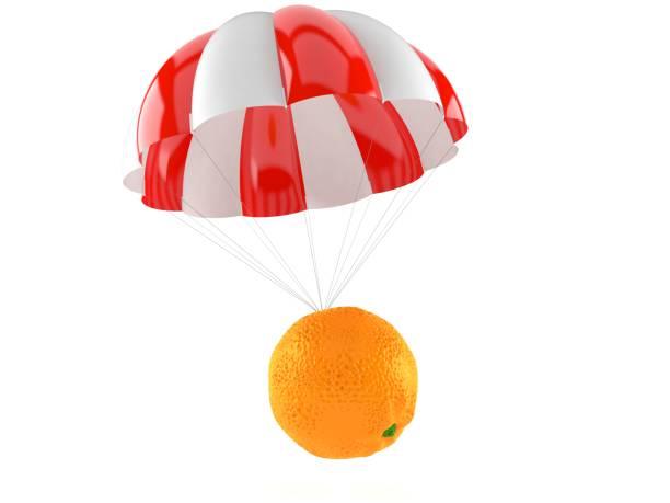 orange med fallskärm - fallskärm bildbanksfoton och bilder