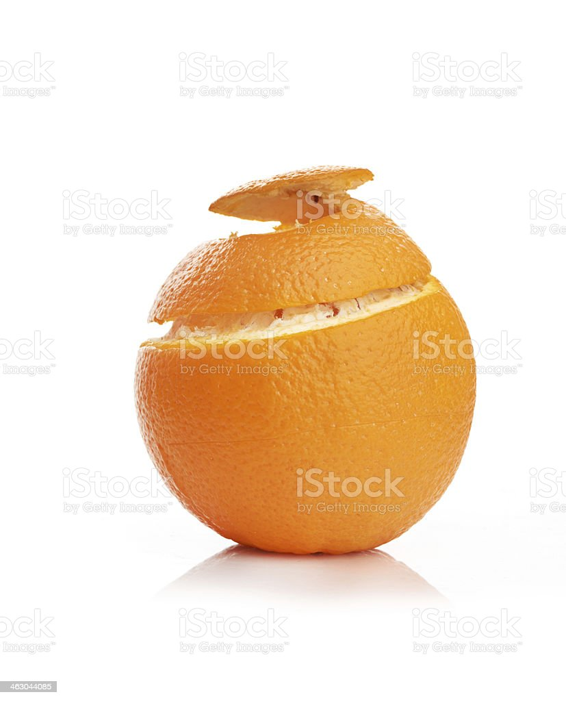 orange with peeled spiral skin stock photo