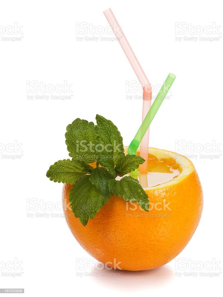 Orange with Straw royalty-free stock photo