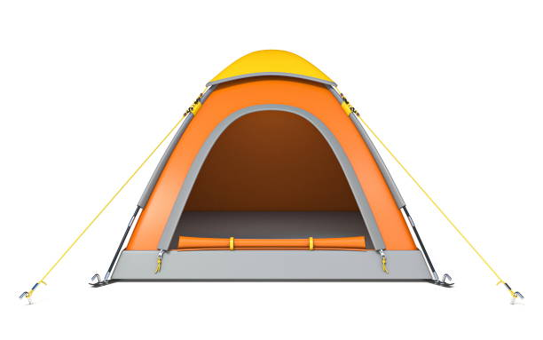 Orange yellow camping tent 3D Orange yellow camping tent 3D rendering illustration isolated on white background tent stock pictures, royalty-free photos & images