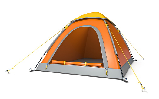 Orange yellow camping tent side view 3D rendering illustration isolated on white background