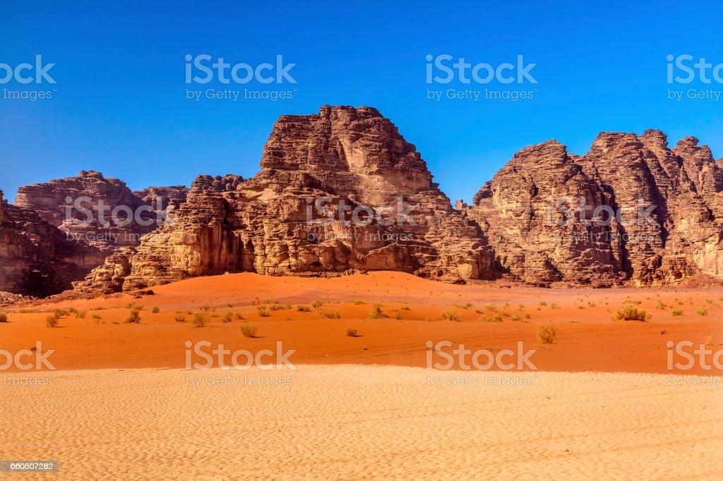 Orange Yellow Sand Rock Formation Valley Moon Wadi Rum Jordan stock photo