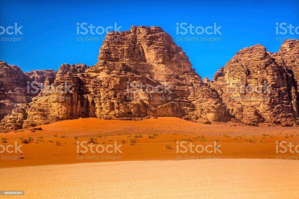 Orange Yellow Sand Rocks Valley of Moon Wadi Rum Jordan stock photo