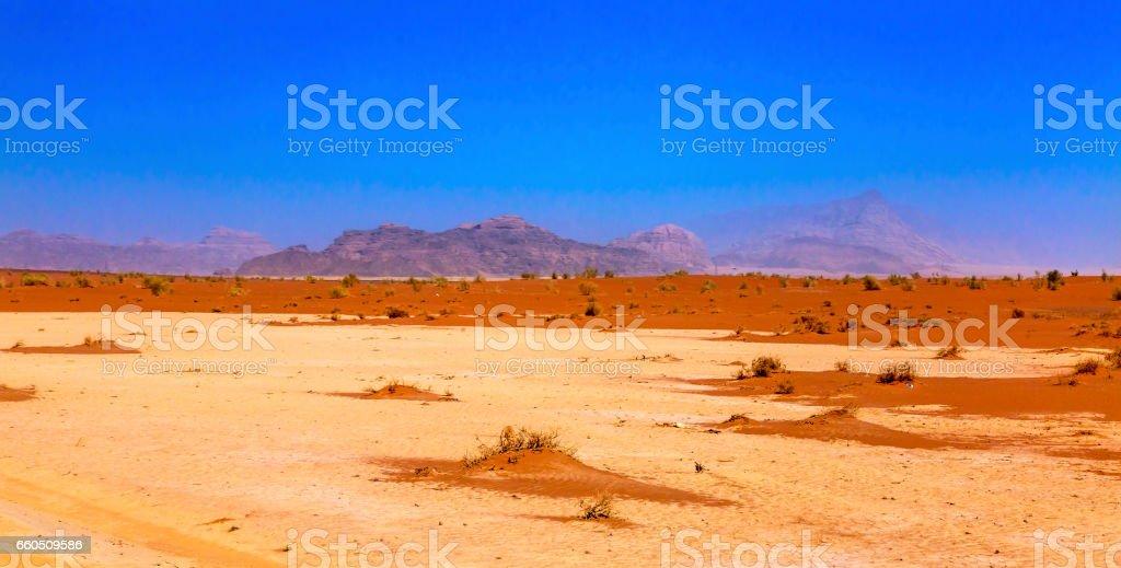 Orange Yellow Sand Valley of Moon Wadi Rum Jordan stock photo
