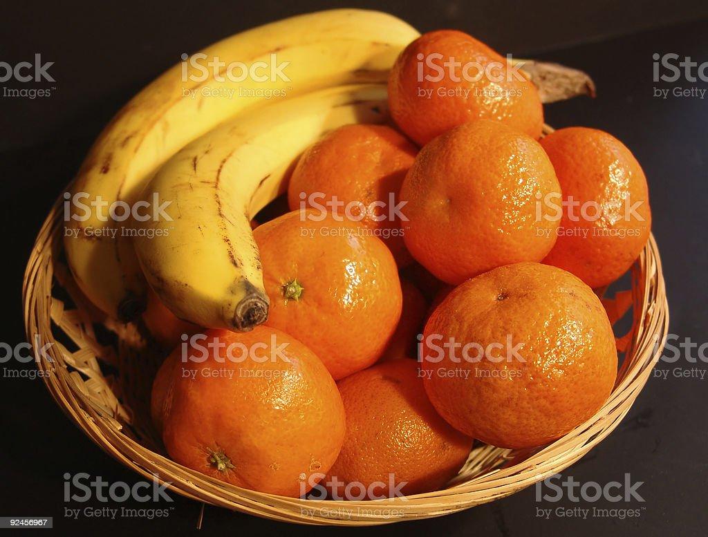 Oranges and Bananas still life basket royalty-free stock photo