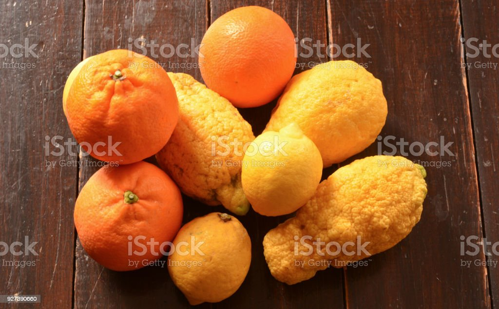 Oranges and lemons for fruit juices stock photo