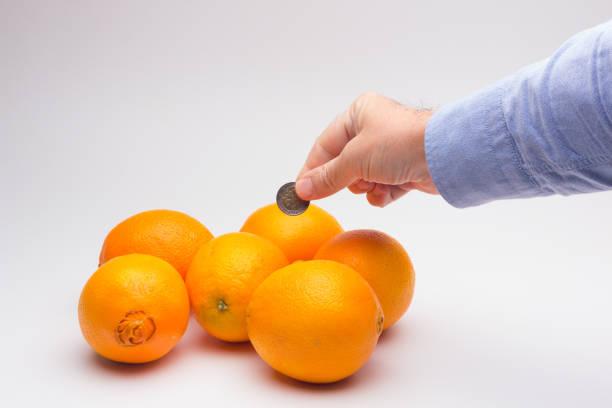 Oranges and money stock photo