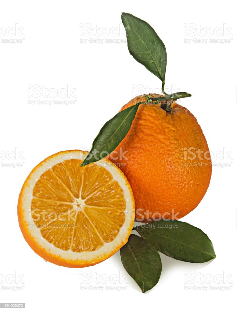 Oranges and sections isolated on white background - Royalty-free Citrus Fruit Stock Photo