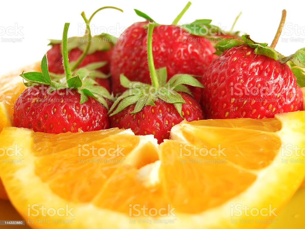 oranges and strawberry royalty-free stock photo