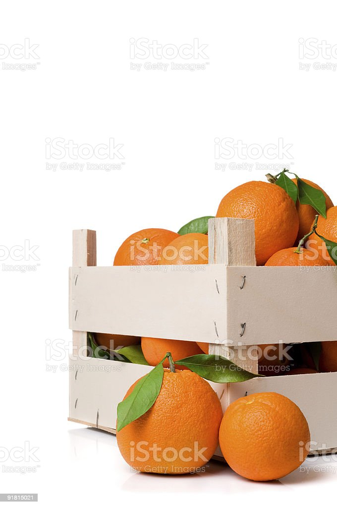 Oranges crate royalty-free stock photo