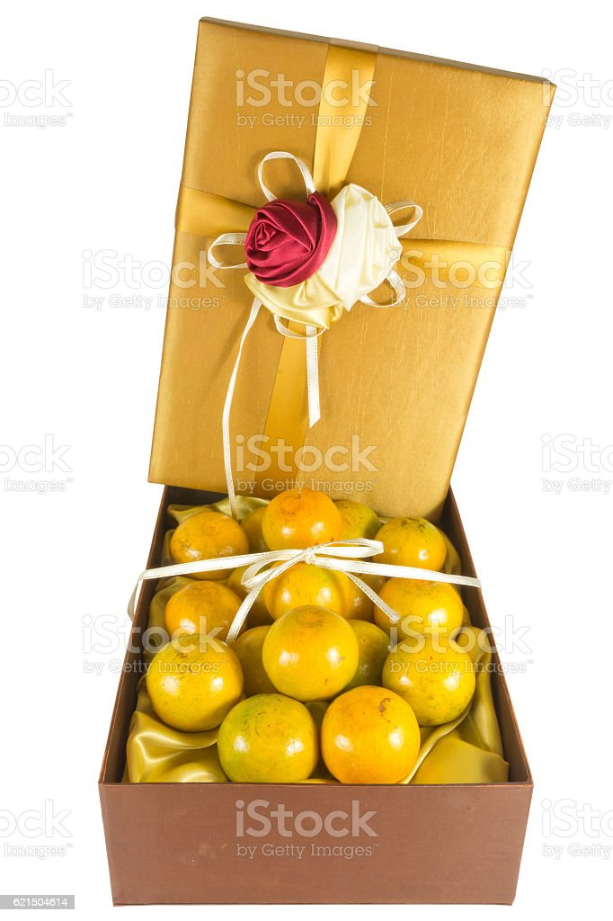 oranges in luxury give box foto stock royalty-free