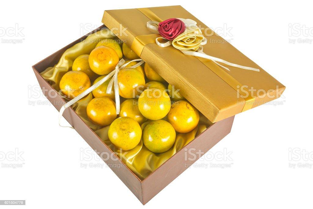 oranges in luxury give box photo libre de droits