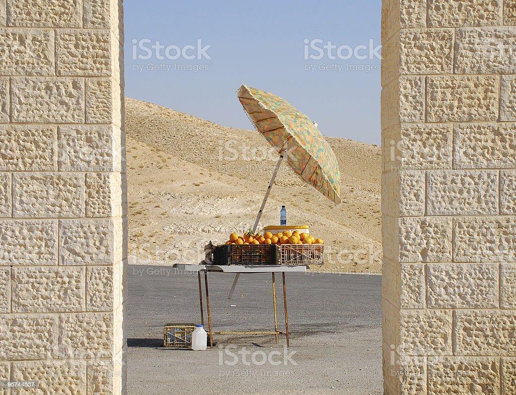 Oranges in the desert above Wadi Kelt near Jericho royalty-free stock photo