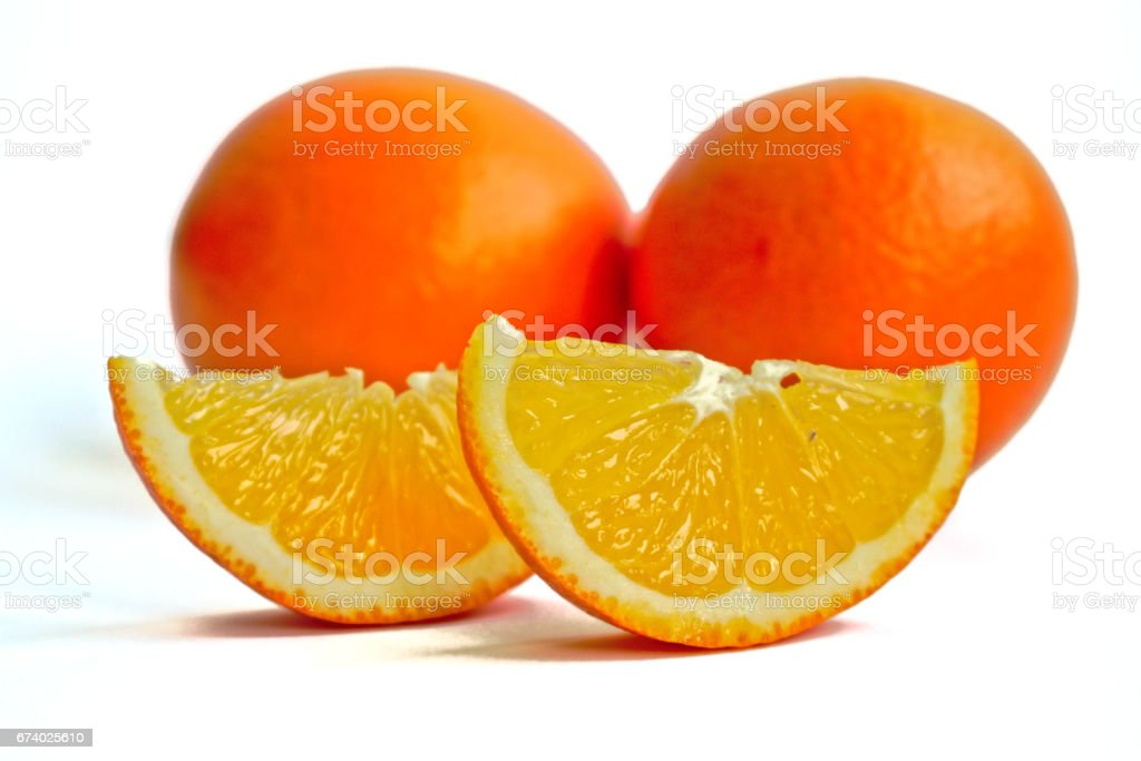 Oranges on a White Background royalty-free stock photo
