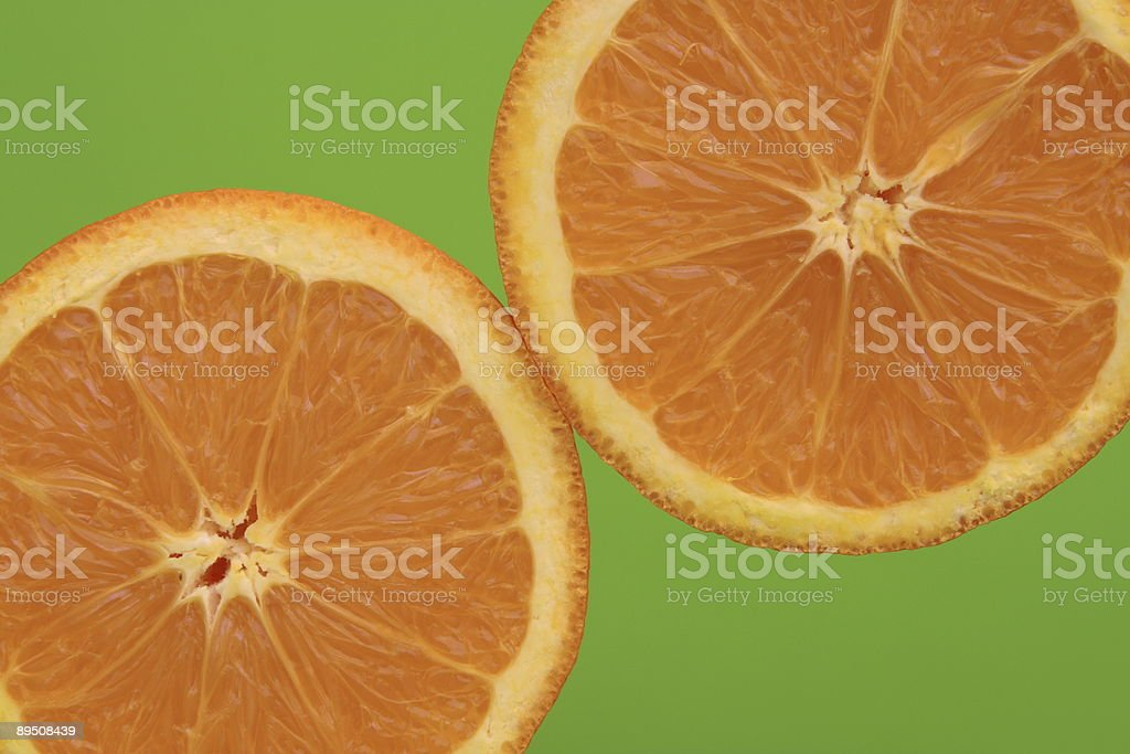 Oranges with green background royalty-free stock photo