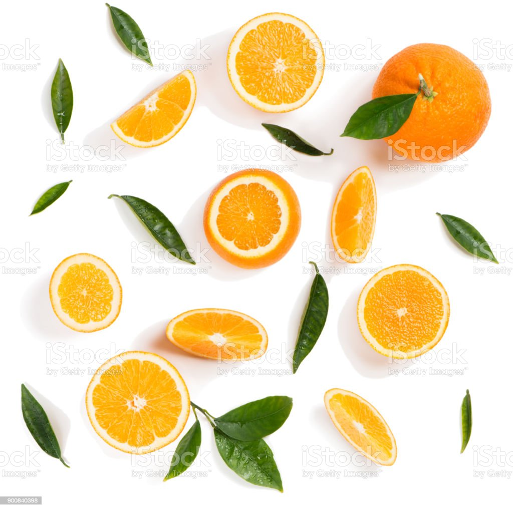 Oranges with leaves. Above view. - foto stock